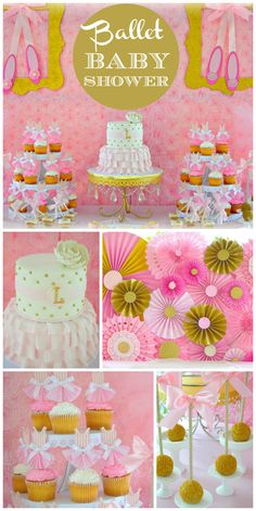 A gorgeous pink and gold Ballerina baby shower with an amazing cake and medallion backdrop!  See more party planning ideas at CatchMyParty.com!
