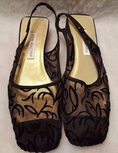 3f1b36098 Ann Marino NWOT Woman s Black Design See Through Slingbacks Shoes Size 6.5  M  AnnMarino