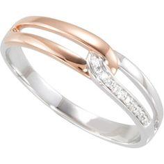 14K White Gold .03 Ct Tw Diamond Ring W/Rose Plating Diamond Ring With Rose Plating  #121823 - IceCarats