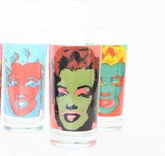 Vintage High Ball Andy Warhol Glasses Marilyn Monroe Pop Art Drinking Gasses Trio, Pop Art Glasses, Marilyn Monroe Collectibles, Warhol Art by TheRoughGem on Etsy