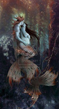 A New Beginning Merman Mermother Dark Fantasy Art, Fantasy Artwork, Fantasy World, Magical Creatures, Fantasy Creatures, Sea Creatures, Mermaid Artwork, Mermaid Drawings, Mermaid Paintings