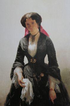 Bertha Schlatter (detail), the artist's bride, by Rudolf Koller, 1855