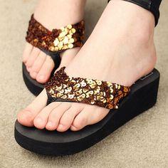 ed88a966cce1 CoffeSummer Shoes Women Platform Sandals Wedge Flip Flops Sapato Feminino  High Heel slippers Plataforma Chanclas