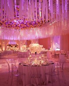 Sheer elegance! Outstanding pink  purple #uplighting highlights this #venue. Photo via #BelleTheMagazine