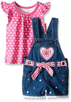 Nannette Little Girls Toddler 2 Piece Heart Tee and Shortall Set Pink 2T * Check out this great product.Note:It is affiliate link to Amazon. #texas