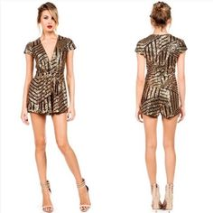 Sequin Romper Absolutely adorable sequin romper. Black & Gold. I've only worn it once to my cousins bachelorette party in Vegas. In excellent condition. The Perfect party outfit! Size Large but runs a bit small. More like a Medium/Large. Foi Boutique Other