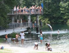 Wakulla Springs near Tallahassee is the deepest freshwater springs in North America!  On site there is a lodge and camp grounds.  Plenty to do including a glass-bottom boat ride.