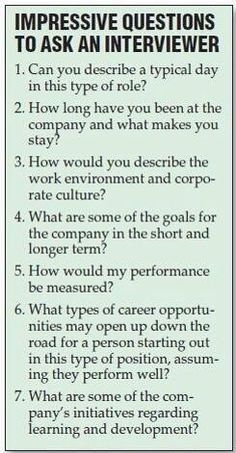 Questions to ask in an interview.