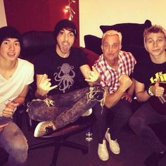 Cal and Luke with John and Alex from All Time Low