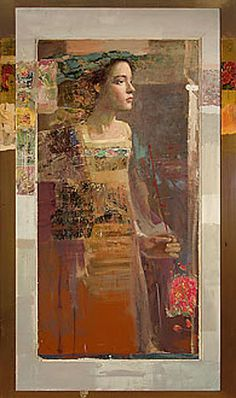 """Profile"", oil/mixed media on canvas 47.5 x 23.5 inches - MERSAD BERBER"
