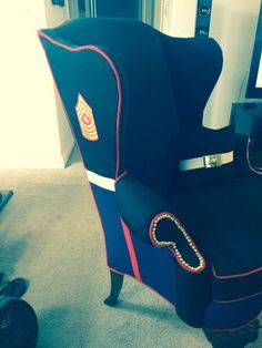 Marine Corps Upholstered Wingback Chair @paulapoo72 , We need to make something like this for Dad!