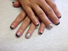 Black French with silver glitter accent lines and silver glitter accent nail Oasis Salon and Spa Mill Hall Pa (570)726-6565