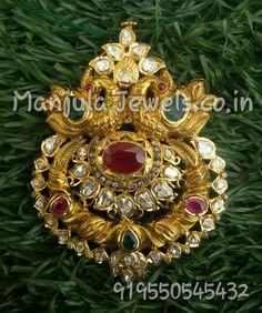 Emerald Pendant, Pendant Set, Gold Pendant, Peacock Earrings, Flower Earrings, India Jewelry, Gold Jewelry, South Indian Jewellery, Uncut Diamond
