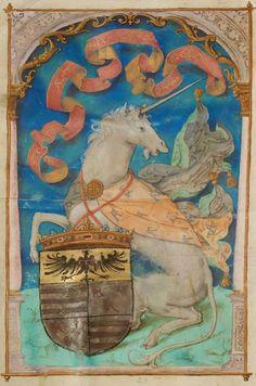 Unicorn - Cambrai, Bibliothèque municipale, ms. 0012, f. 000Av. Gradual, 1540 (Northern France or Belgium). Arms of Robert de Croÿ.