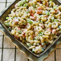 Shrimp and macaroni salad. Sounds great, and I can easily substitute other vegetables in because I don't like celery or onions.