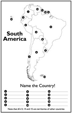 The 11 best geography quiz images on pinterest school english and page 1 south america map test gumiabroncs Image collections