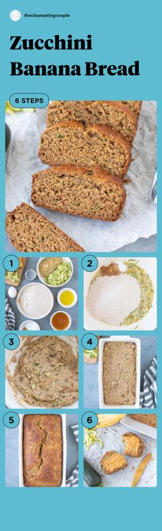 Zucchini Banana Bread Recipe is a healthy treat everyone will love! Add chocolate chips or turn into muffins with this versatile dessert! Healthy Bread Recipes, Healthy Muffins, Healthy Breakfast Recipes, Healthy Treats, Clean Eating Recipes, Snack Recipes, Snacks, Low Carb Desserts, Healthy Desserts