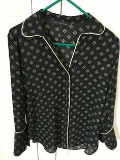 Marks & Spencer Girls /Womens Long Sleeved Black & Gold Blouse Shirt Top Size 10 #MS #blouse