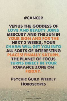 #Cancer Venus the goddess of love and beauty joins Mercury and the Sun in your sign and for the next 2 weeks.