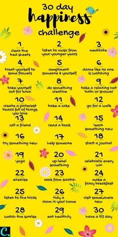 Want To Know How To Be Happy? Take This 30 Day Happiness Challenge! - Captivating Crazy Want To Know How To Be Happy? Take This 30 Day Happiness Challenge! - Captivating Crazy,Self-Care & Self-Love 30 Day Happiness Challenge Infrographic Compliment Someone, Self Care Bullet Journal, Vie Motivation, Happiness Challenge, Ways To Be Happier, Self Care Activities, Self Development, Personal Development, Good Habits
