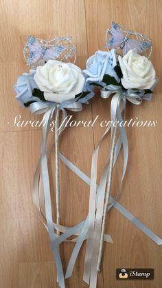 Flower girl wands Flower Girl Wand, Flower Girl Bouquet, Flower Bouquets, Bride Bouquets, Flower Girls, Flower Girl Dresses, Wedding Wands, Diy Wedding, Wedding Favors
