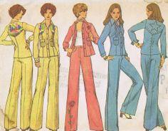 VINTAGE 70s SEWING PATTERN Pantsuit SIMPLICITY 7185 SIZE 12 BUST 34 HIP 36 UNCUT