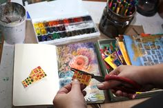 Cutting hand decorated papers. Read instructions to create an art journal page with only few basic supplies!