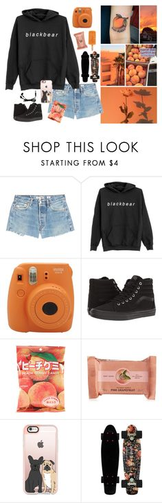 """*peachy*"" by n0lif3 on Polyvore featuring RE/DONE, Fujifilm, Vans, The Body Shop, Casetify, music, polaroid, peaches, blackbear and aesthetic"