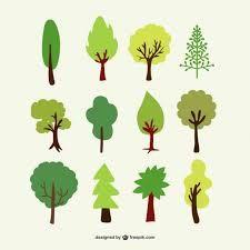træer skov farver vektor stil