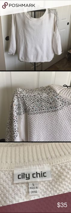🆕 Listing-White Sweater with Rhinestones For Size refer to last photo. Sizing chart posted. White Sweater with Rhinestones on Shoulder & Arms City Chic Sweaters Crew & Scoop Necks