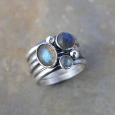 Labradorite Sterling Silver Stacking Rings Set of 5 Rings