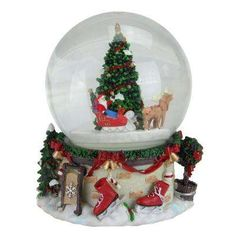 ce653e827 Christmas Musical and Animated Santa on Sleigh Rotating Water Globe Large  Christmas Tree