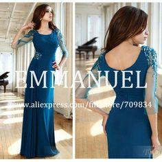 Popular Beaded Modest Chiffon Navy Blue Elegant Evening Dress with Sleeves See Through VE008 $143.56