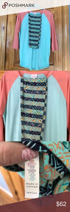 LuLaRoe bundle XL peach and aqua Randy, paired with TC navy and aqua stripe legging with peach, yellow, red, blue pattern over the stripes. New with tags LuLaRoe Other