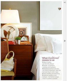 Gray bedroom + white sheets + warm accents: 'Sage Mountain' by Benjamin Moore by xJavierx, via Flickr