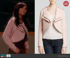 Santana's pink double layered jacket on Glee. Outfit Details: http://wornontv.net/45897/ #Glee