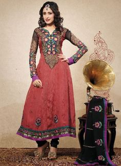 Glorious Embroidered Anarkali Suit With Matching Dupatta