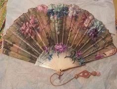 Antique Art Nouveau Hand Fan, Ca. 1910, Faux Bone Sticks, Flowers & Grapes #Unknown