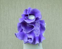 Bufanda de fieltro nuno violeta púrpura collar bufanda de fieltro