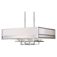 Chrome Eight-Light 32.5-Inch Wide Square Drum Pendant