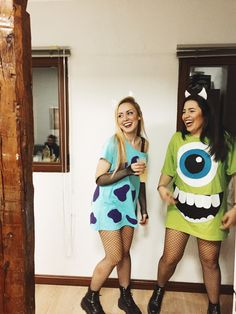 disfraces de Halloween a juego - Sully Halloween Costume, Sully And Boo Costume, Maske Halloween, Halloween Costumes For Teens Girls, Matching Halloween Costumes, Best Friend Halloween Costumes, Halloween Outfits, Mike Wazowski Costume, Cute Halloween Costumes For Teens