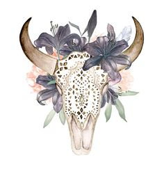 Watercolor skull with antlers in flowers, hand painted, ornament, peonies, feathers, lilac, floral, invite, tribal, diy, flowers, boho deer