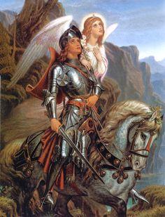 "Pre-Raphaelite Painting: ""Sir Galahad with an Angel,"" by Sir Joseph Noel Paton. Roi Arthur, King Arthur, Legend Of King, I Believe In Angels, Knight In Shining Armor, Joan Of Arc, Pre Raphaelite, Illustration, Guardian Angels"