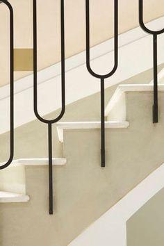 Stair Railing Ideas Stair detail in Chloé's Paris flagship shop by Joseph Dirand.Stair detail in Chloé's Paris flagship shop by Joseph Dirand. Interior Stair Railing, Stair Handrail, Staircase Railings, Staircase Design, Staircase Ideas, Railing Ideas, Banisters, Metal Stair Spindles, Staircase Remodel