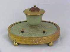 19thC Chinese Carved Jade Inkstand Ink Well Floral Design