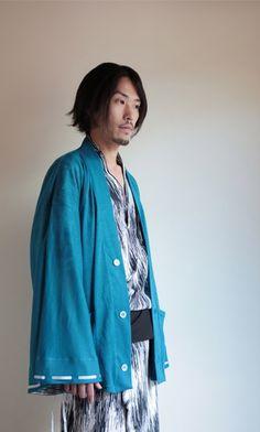 Men's kimono style linen cardigan http://www.sousouus.com/apparel/haori-cardigan-linen-teal-unisex/ $139.90