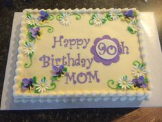 Daisies and pansies 90th birthday cake
