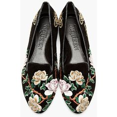 Alexander McQueen Black & Gold Suede Embroidered Loafers ($370) via Polyvore