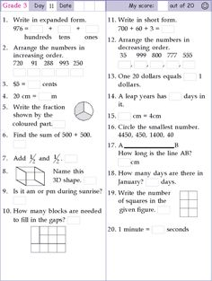 Mental Math Grade 3 Day 11