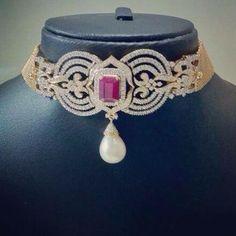 Diamond and ruby choker necklace cum vanki